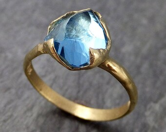 Partially faceted Blue Topaz 18k yellow Gold Engagement Solitaire Ring Wedding Ring One Of a Kind Gemstone Ring 0892