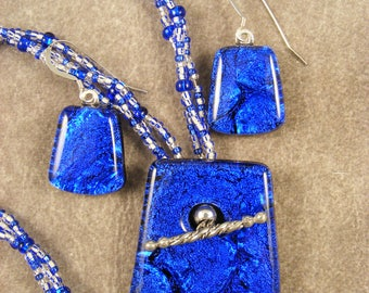 Dichroic Cobalt and White Beaded Pendant & Earrings Set