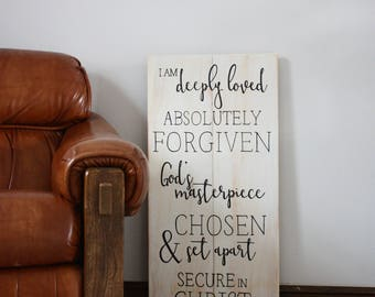 I Am Deeply Loved, Absolutely Forgiven, Inspirational Sign, Kid's Bedroom Decor, Wooden Sign, Custom Wooden Sign, Bedroom Decor, Home Decor