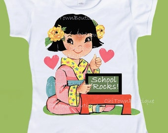 Asian girl, School Rocks, girls school TShirt, ORIGINAL ChiTown,Retro graphics, One Piece Baby,Tank or tshirt by ChiTownBoutique.etsy