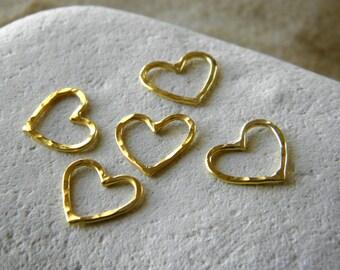 24 K Gold Dipped Petite Love Heart Pendant | Gold Vermeil Heart Connectors | Pack of 10