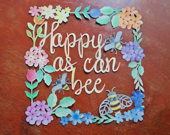 Happy as can bee papercut - hand coloured