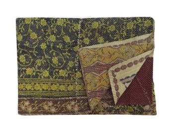 FREE SHIPPING Amazing Vintage Kantha Quilt Throw Blanket Unique Old Cotton Boho Bohemian Indian Hand stitched Amazing One of a Kind Quilt