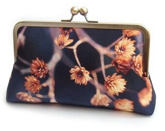 Golden seedheads clutch bag, blue and orange silk purse, woodland wedding, bridesmaid gift