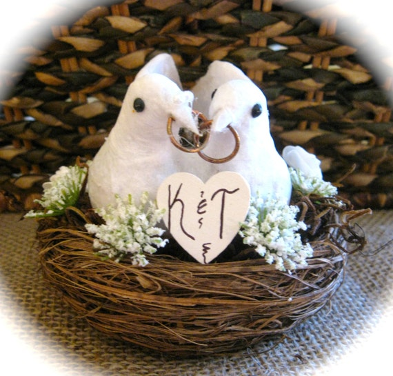 Personalized Rustic Wedding Cake Topper with Wedding Dove Couple in Nest with White or Ivory Accent Flowers