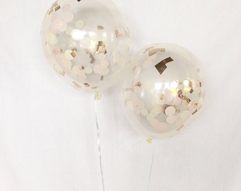 Rose Gold Confetti Balloons Blush Pink Ivory Rose Gold Confetti Balloons Rose Gold Bridal Shower Decor Rose Gold Balloons Rose Gold Decor
