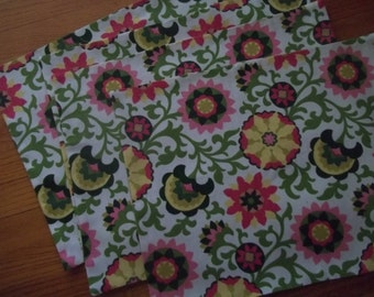 Mod Floral Placemat Set of 4 - Cotton Placemats - Pink, Green, Yellow Modern Floral Placemats