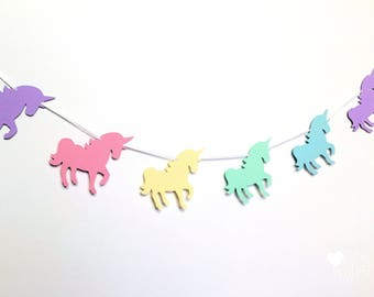 Rainbow Unicorn Garland. Pastel Birthday party banner. Magical unicorn party, baby shower, party decorations. First birthday. Bunting.