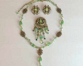 Vintage Kirks Folly Necklace Brooch Earrings Set