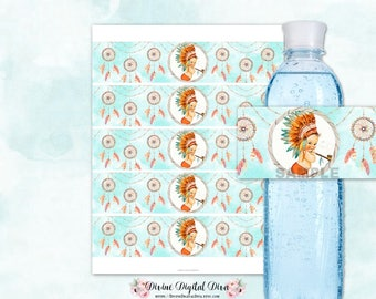 Water Bottle Labels Turquoise Orange | Tribal Native American Feather Headdress | Vintage Baby Boy Light Tone | Digital Instant Download