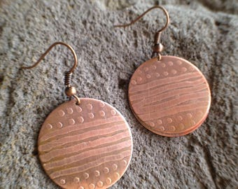 Line/Dot Etched Copper Disc Earrings, handmade