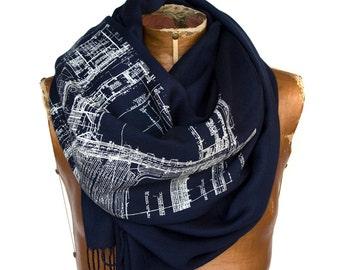 "Blueprint Linen Weave Scarf. Architect gift. Detroit architecture blueprint, ""Cass Tech"" silkscreen print pashmina. Your choice of colors."