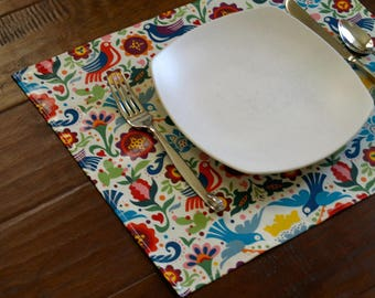Placemats DOUBLE SIDED Laminated Cotton, wipe clean, La Paloma with choice of solid back