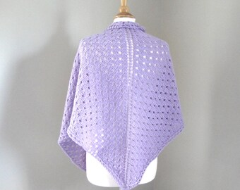 Polka Dot Shawl Wrap, Lavender Purple, Hand Knit, Soft Wool, Chunky Triangle Prayer Shawl, Comfort