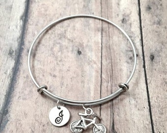 Bicycle initial bangle - bicycle jewelry, bike jewelry, cyclist jewelry, silver bicycle pendant, bike bracelet, bicycle bangle, bike gift