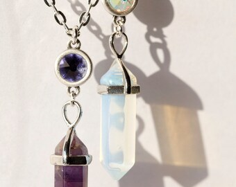 Handmade Silver Plated Crystal Chakra Necklace with Swarovski & Semi-precious Stones