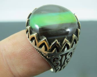 Agate Stone Sterling Men's Ring Sz 9