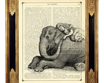 Elephant sleeping Girl Poster Print Friendship Friends Circus Zoo - Vintage Victorian Book Page Art Print Steampunk