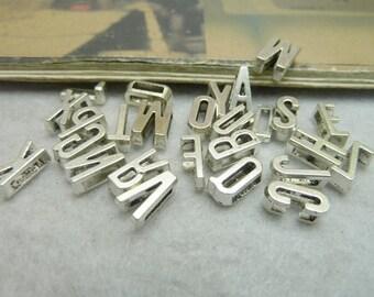 26 Alphabet Letter Charm Pendant Antique Silver Initial Charm 6x11mm