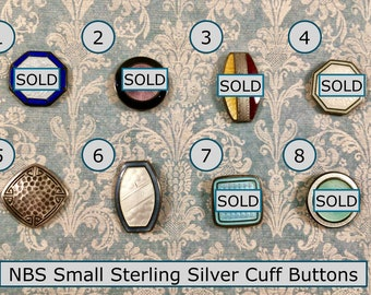 CHOICE of One Early 20th Century Sterling Silver Cuff Button NBS Samll Most Basse Taille Enamel