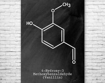 Vanillin Molecule Vanilla Extract Poster Science Art Print, Vanillin, Vanilla Bean, Vanilla Flavor, Chemistry, Chemistry Art, Science Print