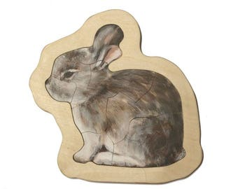Rabbit, plywood puzzle, to play or to collect