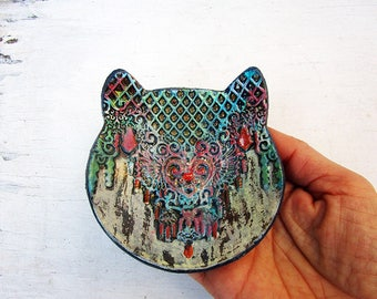 Handmade Cat Ring Dish, Pottery Cat Bowl, Handmade Ceramic Cat Ring Holder, Small Textured Ring plate Cat Dish, Ready to Ship