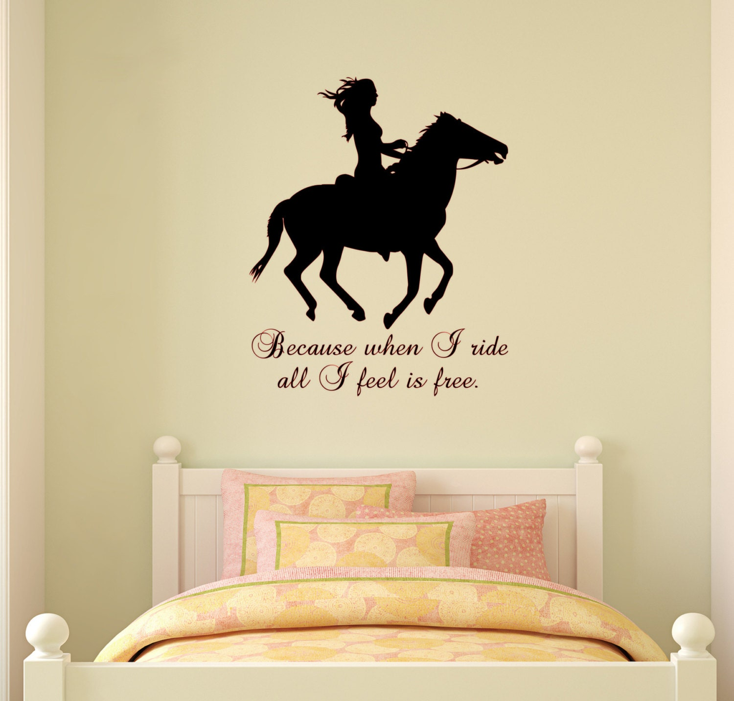 horse wall decal horse quote sticker wall words girls teen. Black Bedroom Furniture Sets. Home Design Ideas