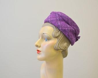 1950s Purple Tweed Pillbox Hat