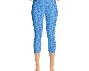 Blue Mermaid Scales Capri Leggings