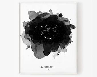 Sagittarius Constellation, Zodiac Constellation, Sagittarius zodiac, Stars constellation, zodiac watercolor, Printable poster, Digital print