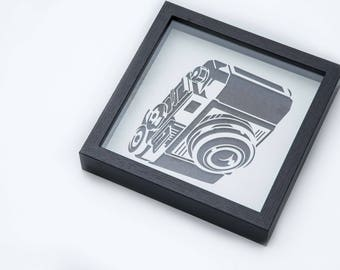 Vintage Camera | 3D Stencil Art | Shadow Box