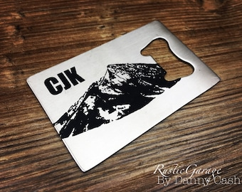 "Crested Butte Colorado with Initials Customized Wallet Size Bottle Opener -""credit card"" size Beer Opener - Unique gift for a beer lover"