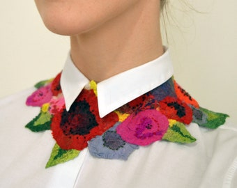 READY TO SHIP! Silk flowers, nunofelted textile necklace in vintage style