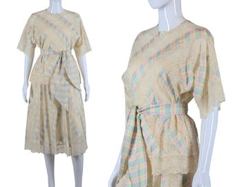 Koos Van Den Akker Dress Silk Lace Set Plaid Top and Skirt 80s Skirt Set 1980s Two Piece Set Designer