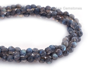 Labradorite Round Faceted Beads Semiprecious Gemstone Beads A+ Grade, 6mm, 36cm Strand