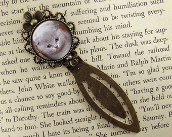 Kitten Bookmark, Cat Bookmark, Gift for Cat Lover, Bronze Bookmark, Book Lover, Book Accessories, Ready Ship, Clip Bookmark, Gray, Kitty