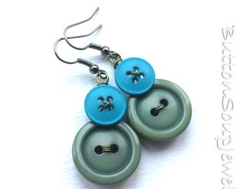 Green and Blue Button Earrings Made with Repurposed Vintage Buttons