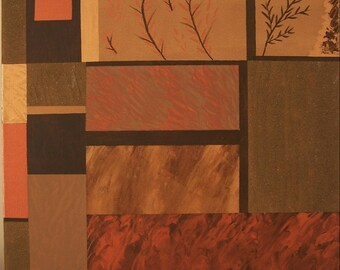 Original acrylic painting: beige and gold, object decorative trend