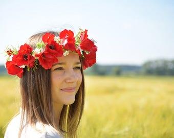 Red Flower Crown, Poppies headband, Floral Crown, Rustic Wedding, Hair Accessories, Boho Floral Crown, Red, Poppies, Bridal Crown