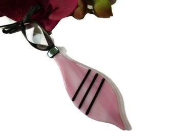 Diva Christmas Ornament, Fused Glass, Retro, Old Fashioned, Pink, Black, Sun Catcher, Oblong
