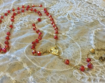 Beautiful Ruby Red and Gold Crystal Rosary
