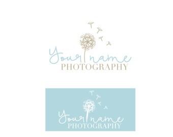 Pre made Dandelion logo design-White watermark logo -Website logo design-florist logo