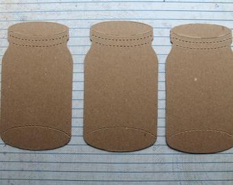 3 Bare chipboard die cuts Jar diecuts style no. 2    4 3/8 inches tall