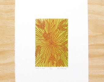 "Woodblock Print - ""Went To Seed"" - Plant - Art Printmaking"