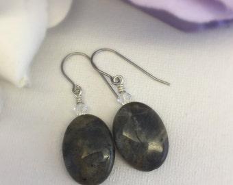 Sage - Labradorite and Swarovski crystal earrings