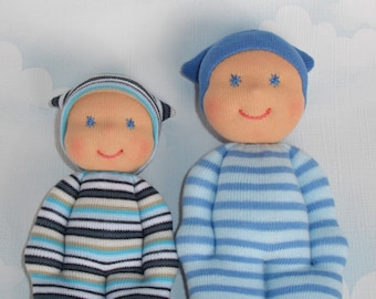Big brother little brother, Soft rag dolls for little boys, Handmade sock dolls in Waldorf style, Baby shower or Birthday gift for toddlers