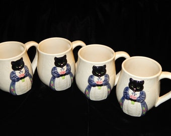 4 The Edith Collection Otagiri Cat Mugs Miss Katy Black made in Japan
