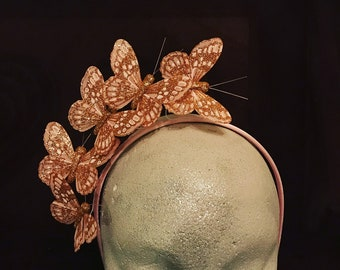 Rose Gold Butterfly Fascinator / headpiece. Original Headpiece. Bespoke Fashion