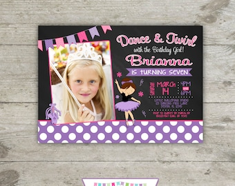 CHALKBOARD BALLET Photo 5x7 Birthday Party Invitation - Printable